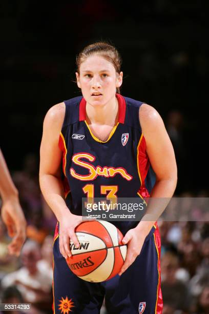 Lindsay Whalen of the Connecticut Sun looks to pass against the New York Liberty July 7 2005 at Madison Square Garden in New York New York The...