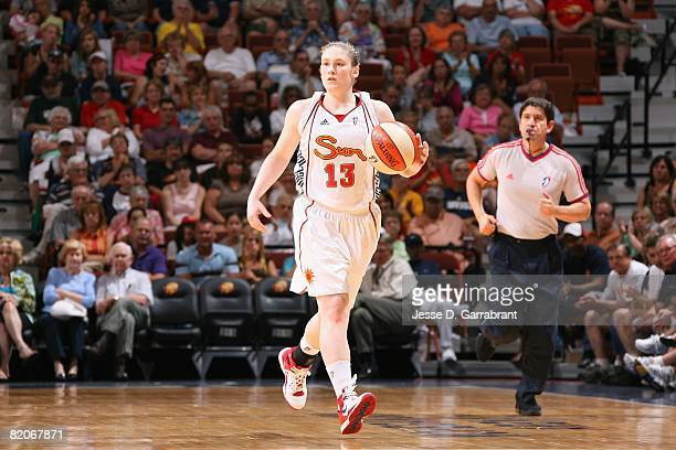 Lindsay Whalen of the Connecticut Sun moves the ball against the New York Liberty during the game on July 15 2008 at the Mohegan Sun Arena in...