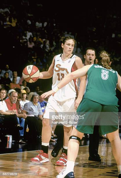 Lindsay Whalen of the Connecticut Suns drives the ball against the Minnesota Lynx during a game on June 30 2005 at Mohegan Sun Area in Uncaville...