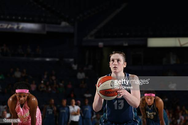 Lindsay Whalen of the Minnesota Lynx aims for a shot during the WNBA game against the Chicago Sky on August 7, 2010 at the All-State Arena in...