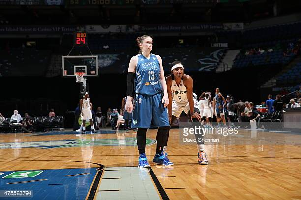 Lindsay Whalen of the Minnesota Lynx and Candice Wiggins of the New York Liberty look on during the game on June 1 2015 at Target Center in...