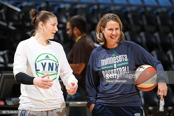Lindsay Whalen of the Minnesota Lynx and Head Coach Cheryl Reeve are seen during practice before the game against the Atlanta Dream on September 17...