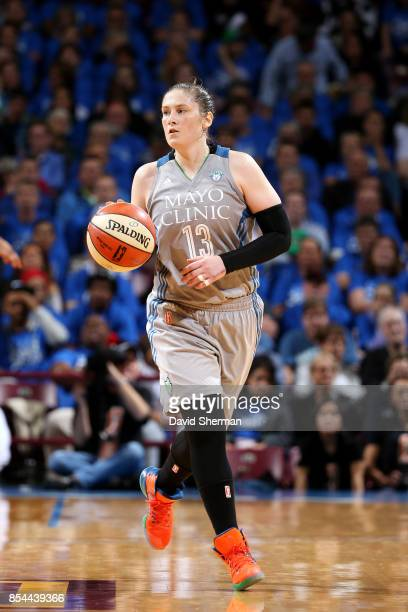 Lindsay Whalen of the Minnesota Lynx brings the ball up court during the game against the Los Angeles Sparks in Game Two of the 2017 WNBA Finals on...