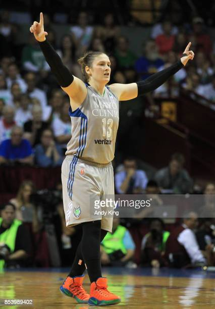 Lindsay Whalen of the Minnesota Lynx calls signals against the Los Angeles Sparks during the fourth quarter of Game One of the WNBA finals at...