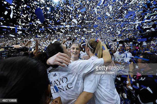 Lindsay Whalen of the Minnesota Lynx celebrates a win in Game Five of the 2015 WNBA Finals against the Indiana Fever on October 14 2015 at Target...