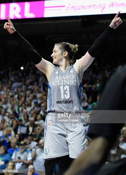 Lindsay Whalen of the Minnesota Lynx celebrates after defeating the against the Los Angeles Sparks in Game Five of the WNBA Finals on October 4 2017...