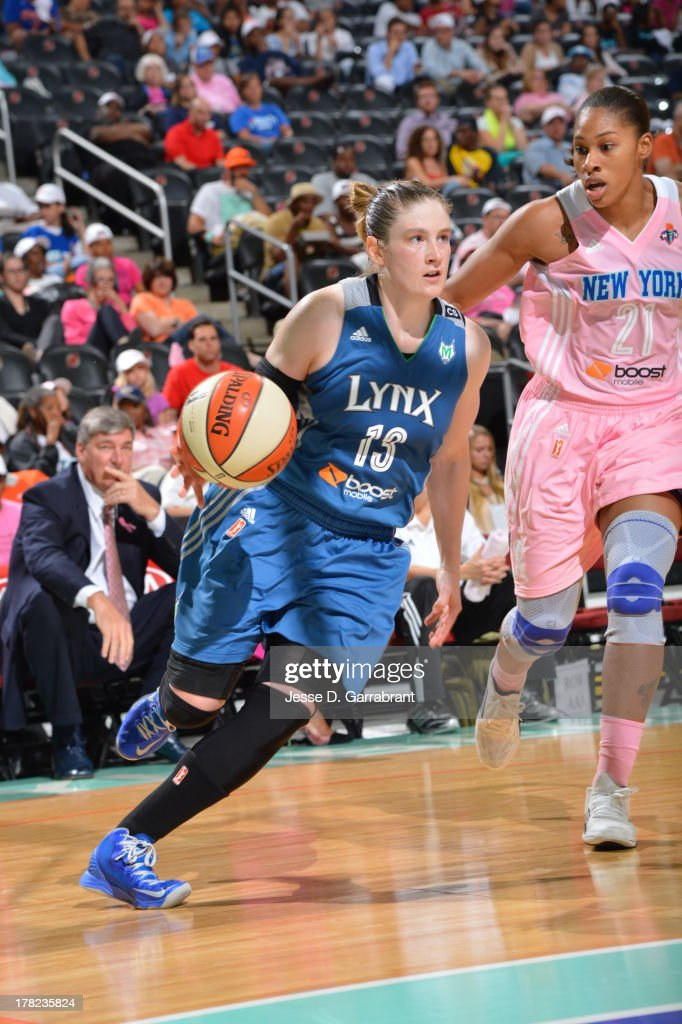 Lindsay Whalen #13 of the Minnesota Lynx drives against the New York Liberty during the game on August 27, 2013 at Prudential Center in Newark, New Jersey.