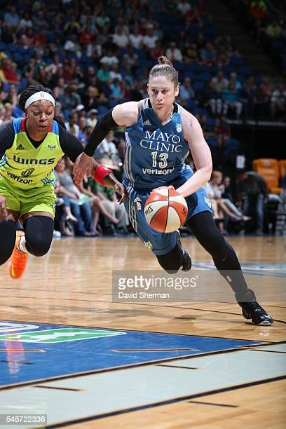 Lindsay Whalen of the Minnesota Lynx drives to the basket against the Dallas Wings during a WNBA game on July 9 2016 at Target Center in Minneapolis...