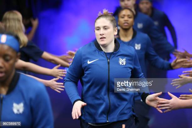 Lindsay Whalen of the Minnesota Lynx enters the court before the game against the Los Angeles Sparks on July 5 2018 at Target Center in Minneapolis...