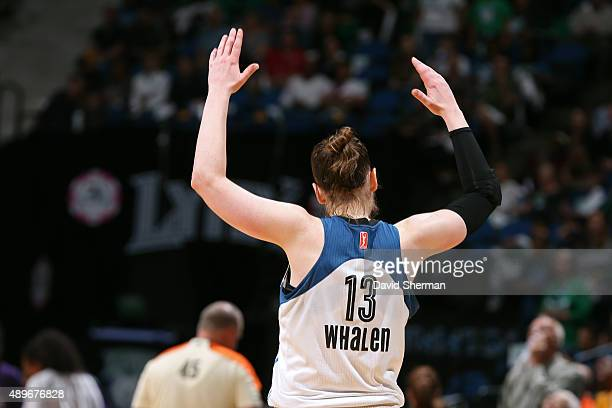 Lindsay Whalen of the Minnesota Lynx gets the crowd into the game against the Los Angeles Sparks during Game Three of the WNBA Western Conference...