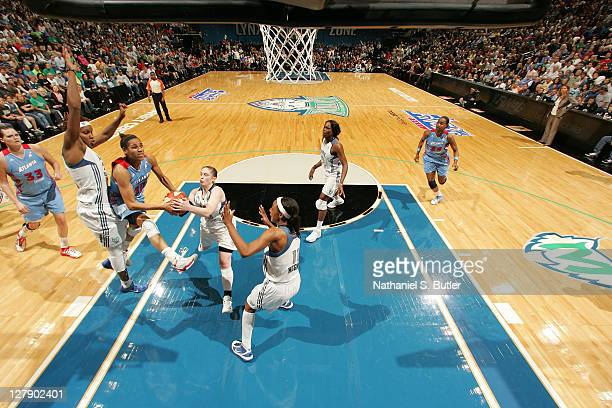 Lindsay Whalen of the Minnesota Lynx grabs the ball from Iziane Castro Marques of the Atlanta Dream in Game One of the 2011 WNBA Finals on October 2...
