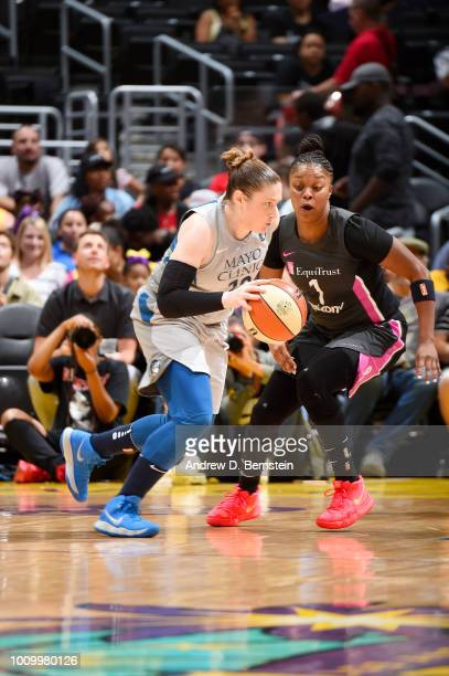 Lindsay Whalen of the Minnesota Lynx handles the ball against the Los Angeles Sparks on August 2 2018 at STAPLES Center in Los Angeles California...