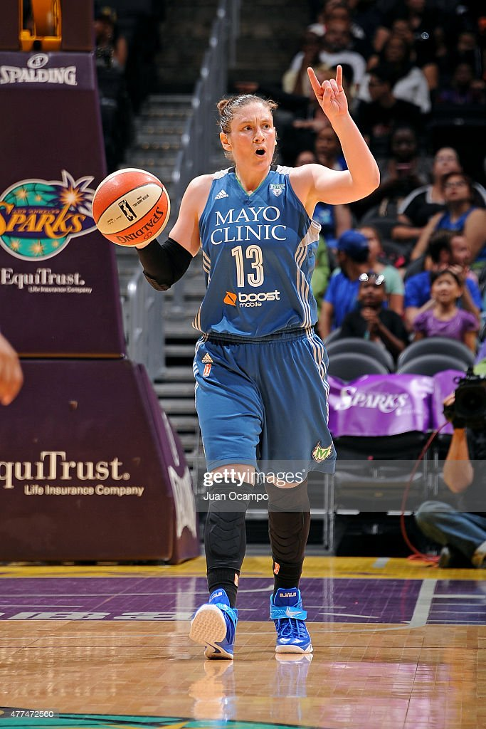 Lindsay Whalen #13 of the Minnesota Lynx handles the ball against the Los Angeles Sparks on June 16, 2015 at Staples Center in Los Angeles, California.