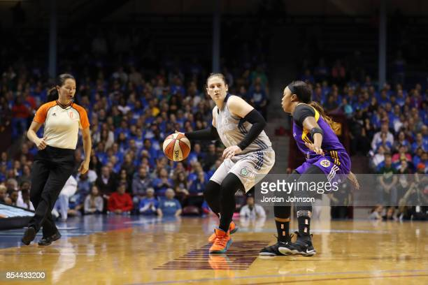 Lindsay Whalen of the Minnesota Lynx handles the ball against the Los Angeles Sparks in Game Two of the 2017 WNBA Finals on September 26 2017 at...