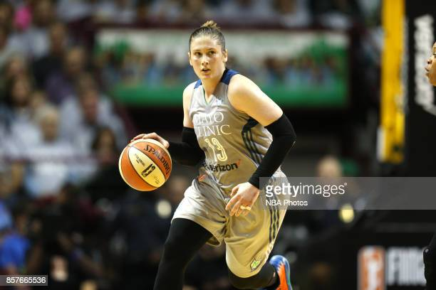 Lindsay Whalen of the Minnesota Lynx handles the ball against the Los Angeles Sparks in Game 5 of the 2017 WNBA Finals on October 4 2017 in...