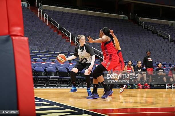 Lindsay Whalen of the Minnesota Lynx handles the ball against the Washington Mystics during an Analytic Scrimmage at the Verizon Center on May 26...