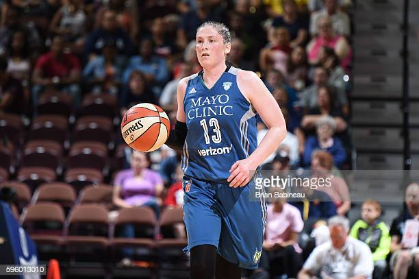 Lindsay Whalen of the Minnesota Lynx handles the ball against the Connecticut Sun on August 26 2016 at the Mohegan Sun Arena in Uncasville...