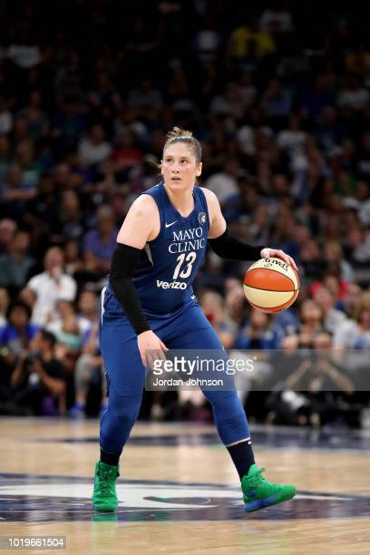 Lindsay Whalen of the Minnesota Lynx handles the ball during the game against the Washington Mystics on August 19 2018 at Target Center in...