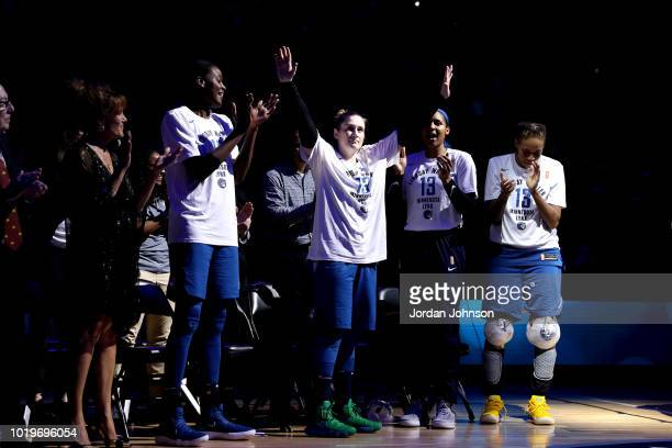 Lindsay Whalen of the Minnesota Lynx is seen at her Post Game Tribute after the game against the Washington Mystics on August 19 2018 at Target...