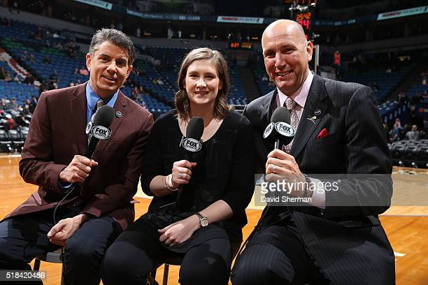 Lindsay Whalen of the Minnesota Lynx joins the broadcasting crew Dave Benz and Jim Petersen before the game between the Minnesota Timberwolves and...