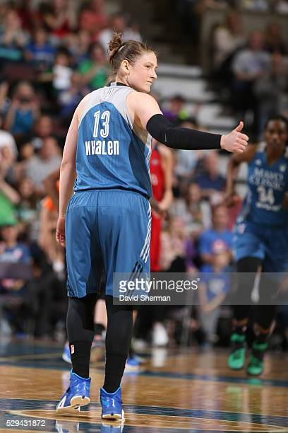 Lindsay Whalen of the Minnesota Lynx looks back to the Minnesota Lynx bench during the preseason game against the Washington Mystics on May 8 2016 at...