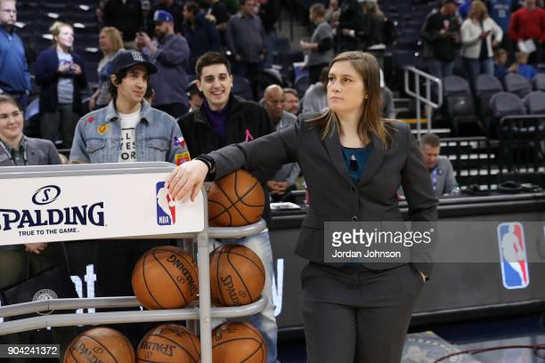 Lindsay Whalen of the Minnesota Lynx looks on before the Oklahoma City Thunder game against the Minnesota Timberwolves on January 10 2018 at Target...