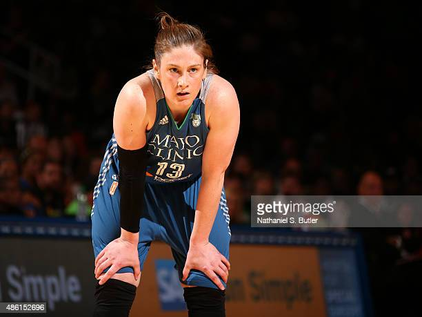 Lindsay Whalen of the Minnesota Lynx looks on during the game against the New York Liberty on August 28 2015 at Madison Square Garden New York City...