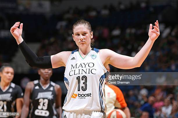 Lindsay Whalen of the Minnesota Lynx pumps up the crowd during a game against the San Antonio Stars on August 11 2015 at Target Center in Minneapolis...
