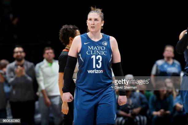 Lindsay Whalen of the Minnesota Lynx reacts during the game against the Los Angeles Sparks on May 20 2018 at Target Center in Minneapolis Minnesota...