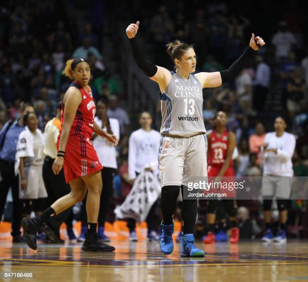 Lindsay Whalen of the Minnesota Lynx reacts to a play against the Washington Mystics in Game Two of the Semifinals during the 2017 WNBA Playoffs on...