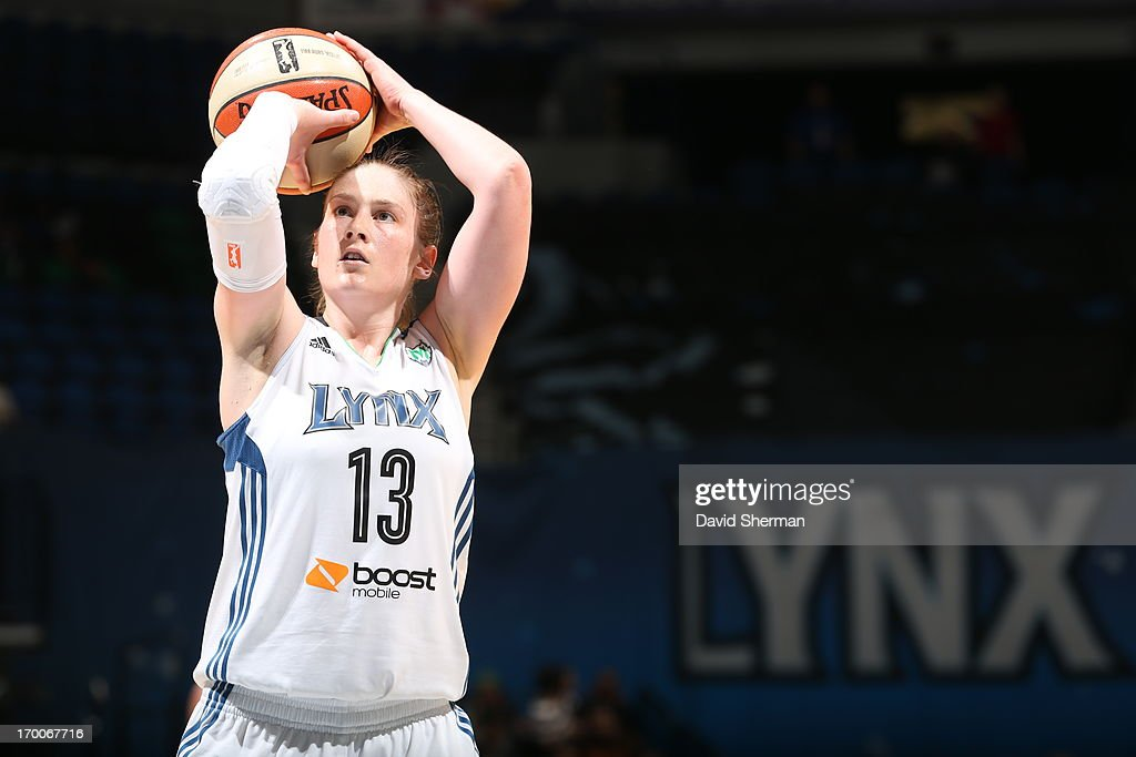 Lindsay Whalen #13 of the Minnesota Lynx shoots a free throw during the WNBA game against the Phoenix Mercury on June 6, 2013 at Target Center in Minneapolis, Minnesota.