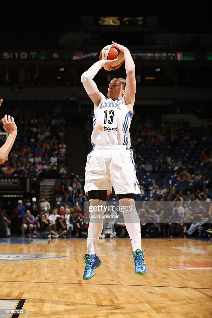 Lindsay Whalen #13 of the Minnesota Lynx shoots against The Phoenix Mercury during the WNBA Western Conference Finals Game 1 on September 26, 2013 at Target Center in Minneapolis, Minnesota.