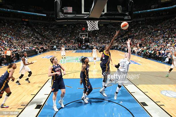Lindsay Whalen of the Minnesota Lynx shoots the ball against Jessica Davenport of the Indiana Fever during the 2012 WNBA Finals Game One on October...