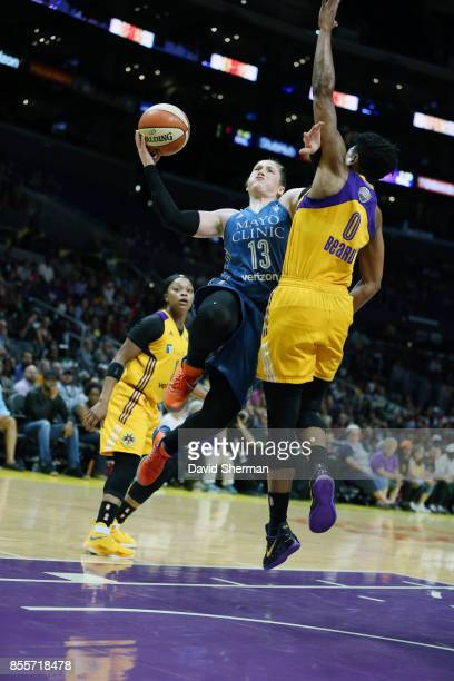 Lindsay Whalen of the Minnesota Lynx shoots the ball against the Los Angeles Sparks in Game Three of the 2017 WNBA Finals on September 29 2017 at the...