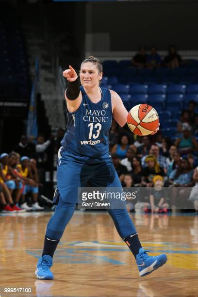 Lindsay Whalen of the Minnesota Lynx signals to her team during the game against the Chicago Sky on July 07 2018 at the Wintrust Arena in Chicago...