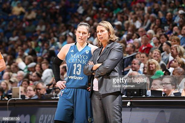 Lindsay Whalen of the Minnesota Lynx talks with Head Coach Cheryl Reeve against the Connecticut Sun during a WNBA game on September 4 2016 at Target...