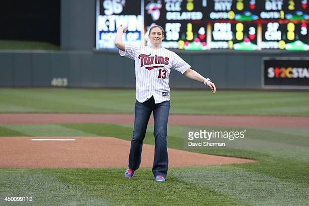Lindsay Whalen of the Minnesota Lynx throws out the ceremonial first pitch prior to the MLB game between the Milwaukee Brewers and the Minnesota...