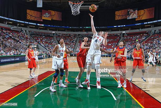Lindsay Whalen of the Team USA goes to the basket during the international exhibition game between the 2012 USA Basketball Women's National Team and...