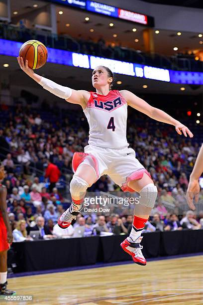 Lindsay Whalen of the USA Basketball Women's National Team drives to the basket against the Canadian Basketball Women's National Team on September 15...