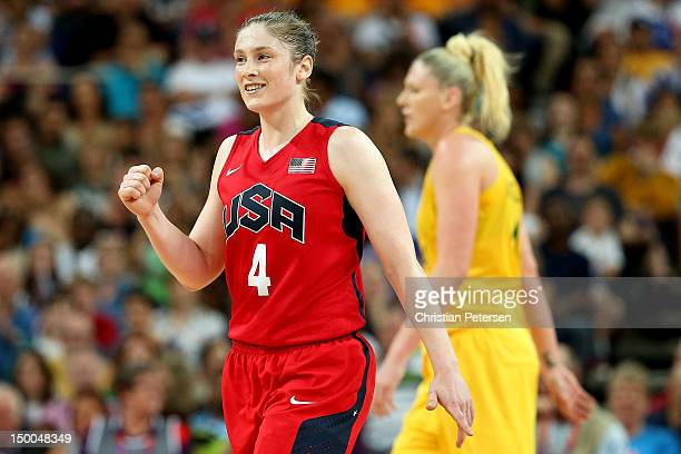 Lindsay Whalen of United States celebrates in the final moments of their 8673 victory over Australia during the Women's Basketball semifinal on Day...