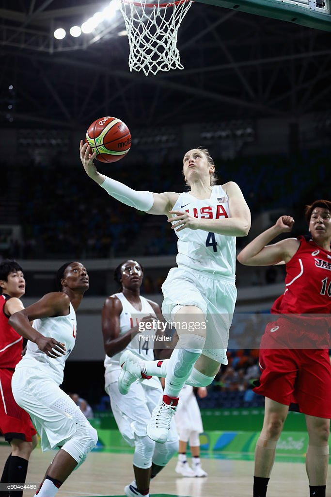 Lindsay Whalen #4 of United States drives to the basket during the Women's Quarterfinal match against Japan on Day 11 of the Rio 2016 Olympic Games at Carioca Arena 1 on August 16, 2016 in Rio de Janeiro, Brazil.