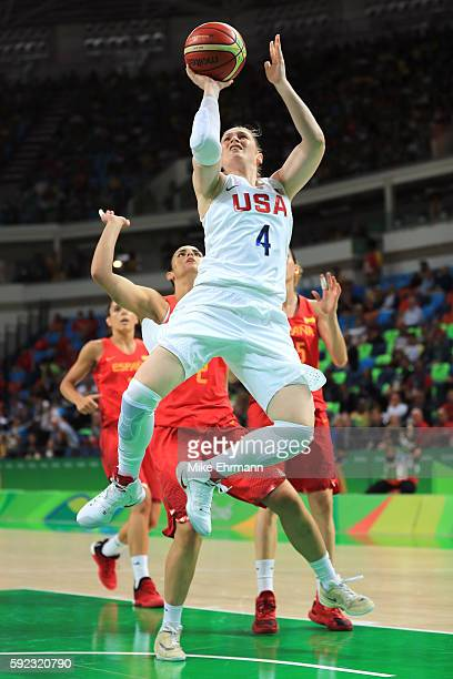 Lindsay Whalen of United States goes to the basket against Leticia Romero of Spain during the Women's Gold Medal Game between United States and Spain...