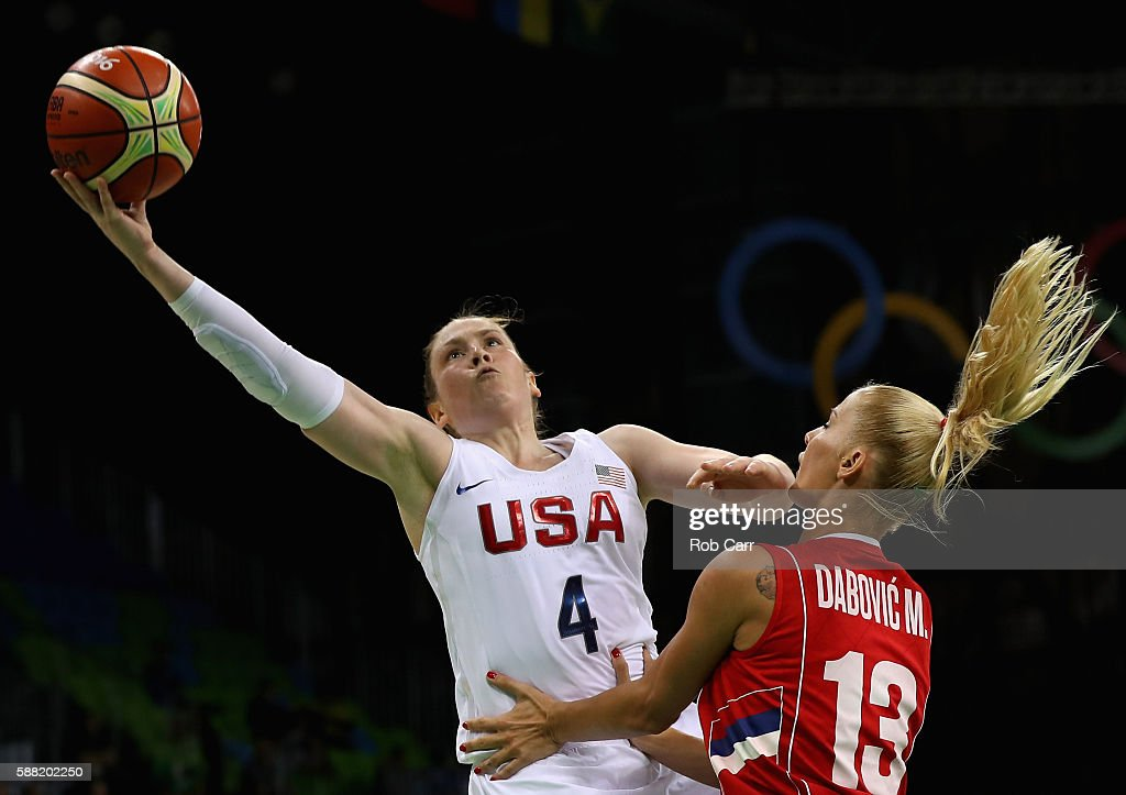 Lindsay Whalen #4 of United States puts up a shot in front of Milica Dabovic #13 of Serbia in the Women's Basketball Preliminary Round Group B match between China and Spain on Day 5 of the Rio 2016 Olympic Games at Youth Arena on August 10, 2016 in Rio de Janeiro, Brazil.
