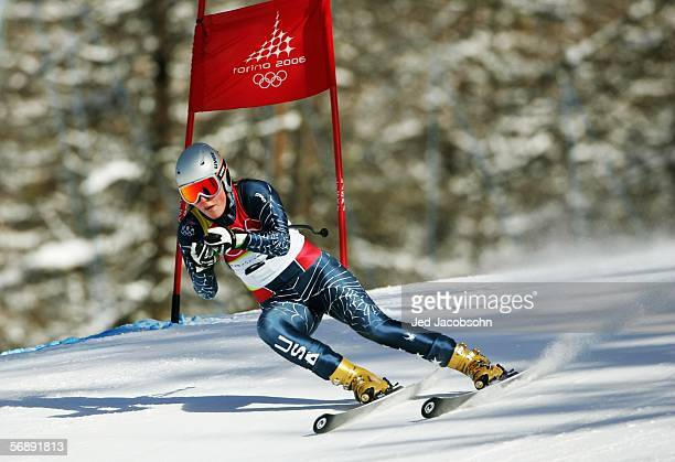 Lindsey C Kildow of the United States competes in the Womens SuperG Alpine Skiing Final on Day 10 of the 2006 Turin Winter Olympic Games on February...