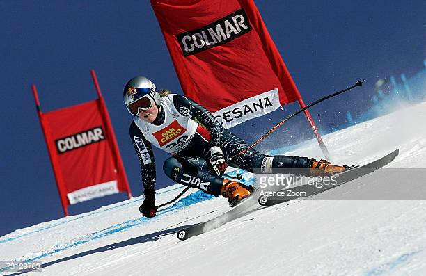 Lindsey C Kildow of the USA competes during the FIS Skiing World Cup Women's Downhill on January 27 2007 in San Sicario Italy