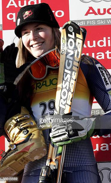 Lindsey C Kildow of USA celebrates during the FIS Skiing World Cup Women's Super Combined on January 22 2006 in St Moritz Switzerland