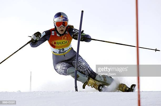 Lindsey C Kildow of USA competes during the FIS Skiing World Cup Women's Super Combined on January 22 2006 in St Moritz Switzerland