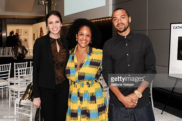 Lindsey Charlotte, Aryn Drake-Lee and Jesse Williams attend Project Angel Food And CAA Celebrate ANGEL ART, A Contemporary Art Auction Benefiting...