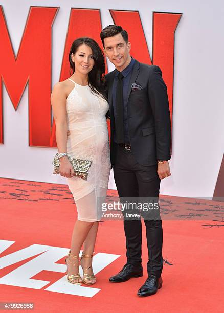 Lindsey Cole and Russell Kane attend the European Premiere of Marvel's AntMan at the Odeon Leicester Square on July 8 2015 in London England
