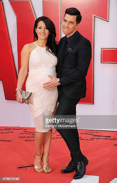 Lindsey Cole and Russell Kane attend the European Premiere of Marvel's AntMan at Odeon Leicester Square on July 8 2015 in London England